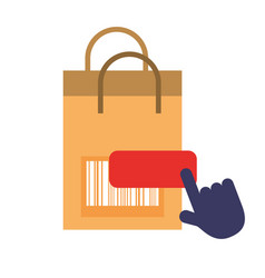 Online shopping paper bag barcode clicking vector