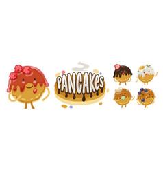 Pancakes emoji set vector