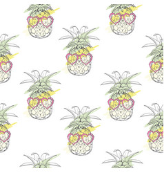 Pineapple with glasses pattern vector