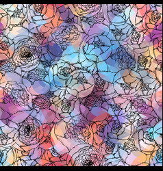 Pion-shaped roses pattern vector
