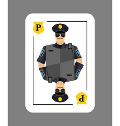 Playing card policeman Conceptual new card police vector image