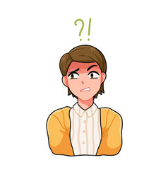 Portrait confused anime boy with question mark vector