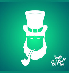 portrait of silhouette leprechaun with smoking vector image