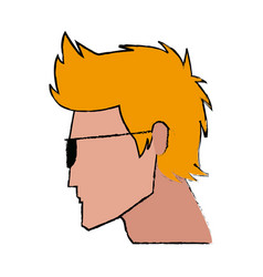 Profile man character face image vector