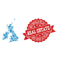 real estate composition of mosaic map of great vector image