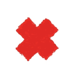 Red Letter X made with brush paint ink Mark vector image
