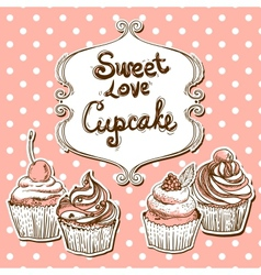 Retro frame with cupcake vector