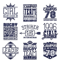 Rugby and baseball team college emblems vector image