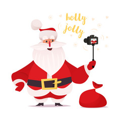 Santa claus recording himself on camera vector