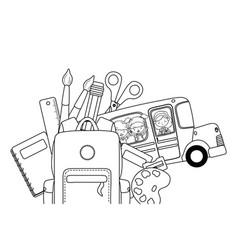 School bus and icon set design vector