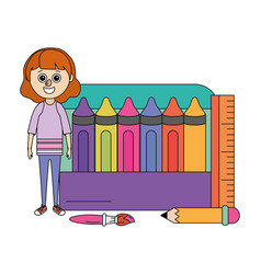 school education girl cartoon vector image