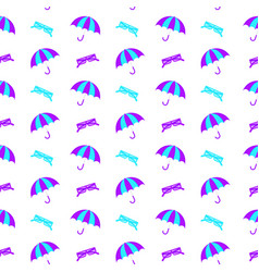 seamless blue umbrella pattern with drops vector image