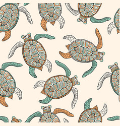 Seamless ethnic pattern with turtles vector