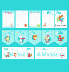 set of cards with cute ice skating animals vector image
