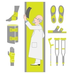 Set of flat icons from surgery and orthopedics vector