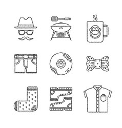 set of hipster icons and concepts in sketch style vector image