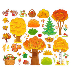 set with trees and forest animals vector image