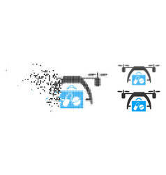 Shredded dotted halftone medical drone icon vector