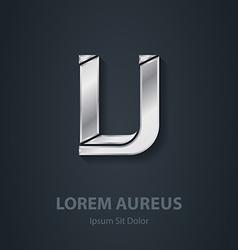 Silver Letter V elegant font or logotype Template vector image
