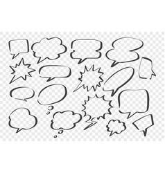sketch speech dream bubbles set vector image