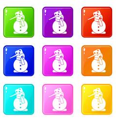 snowman set 9 vector image