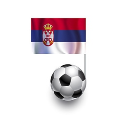Soccer balls or footballs with flag of serbia vector