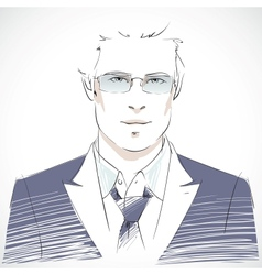 Stylish young businessman portrait vector