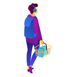 Teenage shopper with shopping basket isometric 3d vector