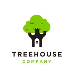 Tree house icon logo vector