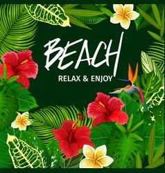 Tropical palm leaf beach party invitation vector