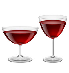 two glasses of red wine on white for creative vector image
