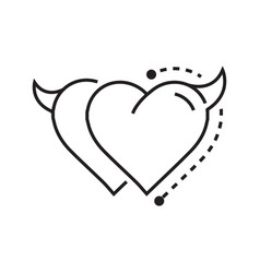 two line icon style heart devil vector image