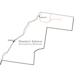 Western sahara black white map with capital a majo vector