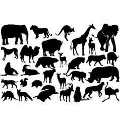 Wild animals silhouettes vector