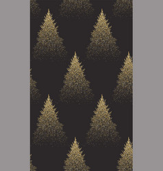 winter seamless pattern with gold fir trees and vector image