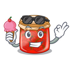 With ice cream strawberry marmalade in glass jar vector