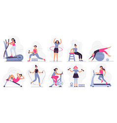woman at sport gym set vector image