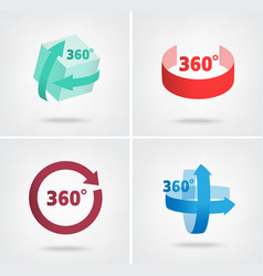 Angle 360 degrees sign icons vector image vector image