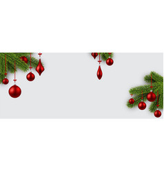 banner with red christmas balls vector image vector image