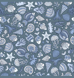 cartoon under water life seamless pattern vector image vector image