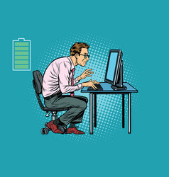 energy for work office businessman at computer vector image