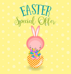 greeting cards with cute easter bunny easter eggs vector image