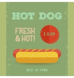 Hot Dog menu vintage poster vector image