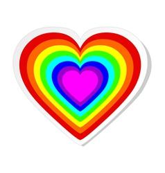 Rainbow heart sticker vector image