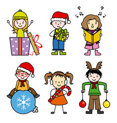 Set of cute kid in christmas holiday vector image