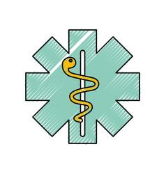 caduceus medical shield vector image vector image