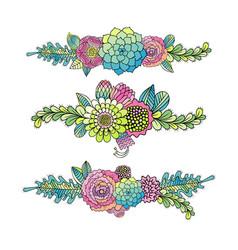 floral set succulent rose and leaf vector image vector image