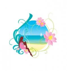 girl on beach vector image