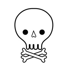 line skull with bones to danger and warning symbol vector image vector image