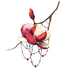 Magnolia and Beads vector image vector image